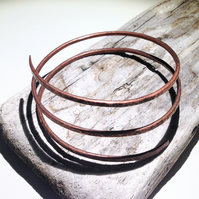 Hand Crafted Hammered Oxidised Copper Spiral Wrap Bangle - UK Free Post
