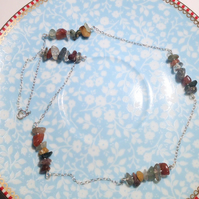 Handmade Tourmeline in Quartz and Carnelian Gemstone Necklace - UK Free Post