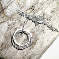 Sterling Silver Russian Rings Style Hoop Pendant Necklace - UK Free Post