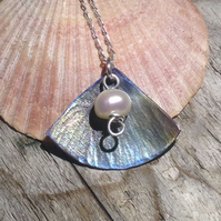 Handmade Coloured Titanium and Freshwater Pearl Pendant  - UK Free Post