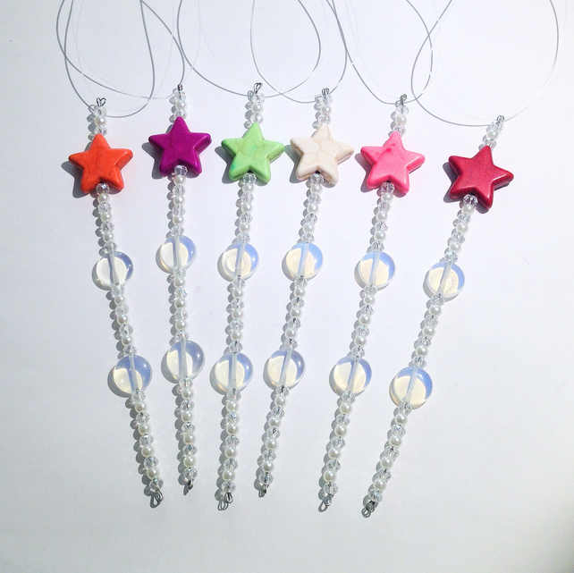 Set of 6 x Star Hanging Icicle Decorations - UK Free Post