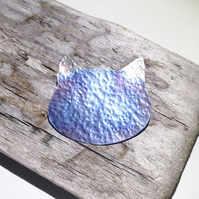 Handmade Coloured Titanium Cat Brooch - UK Free Post