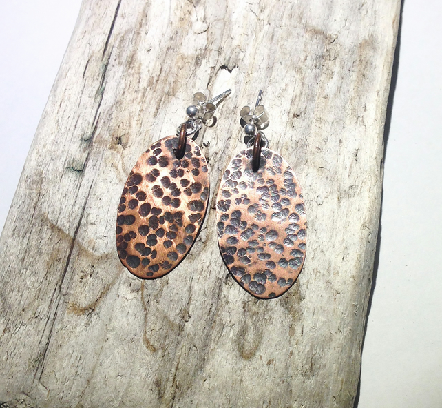 Oxidised Oval Copper Earrings - UK Free Post