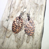 Hammered Oval Copper Earrings - UK Free Post