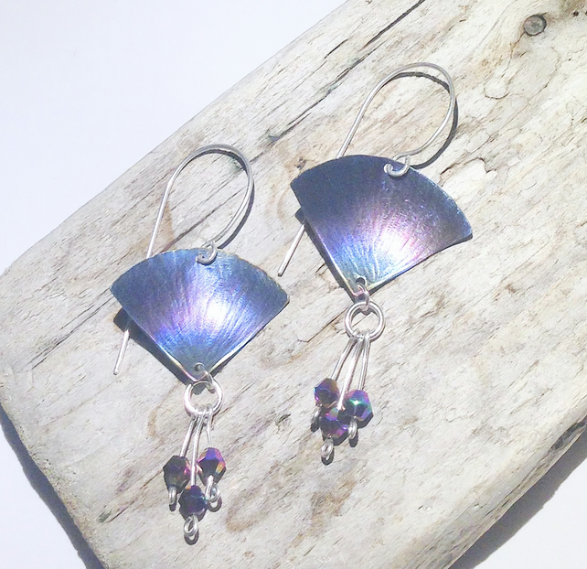 Handmade Coloured Titanium and Crystal Bead Fan Shaped Earrings  - UK Free Post