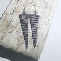 Long corrugated Hammered and Oxidised Copper Drop Earrings - UK Free Post