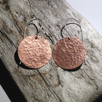 Hammered Copper Disc Earrings - UK Free Post