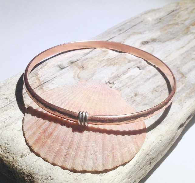 Hand Crafted Hammered Copper Bangle - UK Free Post