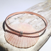 Hand Crafted Hammered Copper and Sterling Silver Bangle - UK Free Post