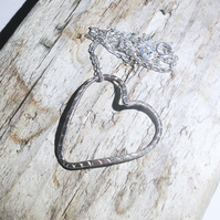 Handmade Sterling Silver Heart Pendant Necklace - UK Free Post