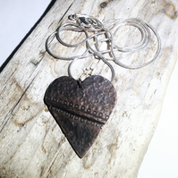 Handmade Antiqued Copper Heart Pendant Necklace - UK Free Post