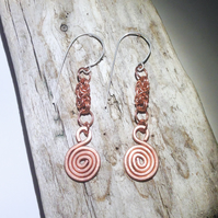 Copper Byzantine Spiral Earrings - UK Free Post