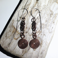 Antiqued Copper Byzantine Spiral Earrings - UK Free Post