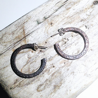 Handmade Antiqued Copper Hoop Earrings - UK Free Post