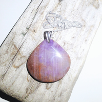 Large Purple Heather Agate Gemstone and Sterling Silver Pendant