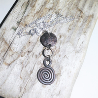 Handmade Antiqued Copper and Sterling Silver Pendant Necklace - UK Free Post