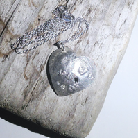 Distressed Sterling Silver Over Copper Heart Pendant - UK Free Post