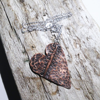 Handmade Antiqued Copper Heart Pendant on Sterling Silver - UK Free Post
