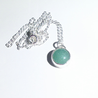 Green Aventurine Gemstone and Sterling Silver Pendant - UK Free Post