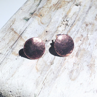 Handmade Hammered Copper Stud Earrings - UK Free Post