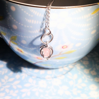 Sterling Silver and Rose Quartz Pendant Necklace - UK Free Post
