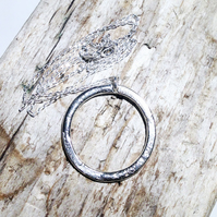 Copper Hoop Pendant with Reticulated Style Sterling Silver - UK Free Post
