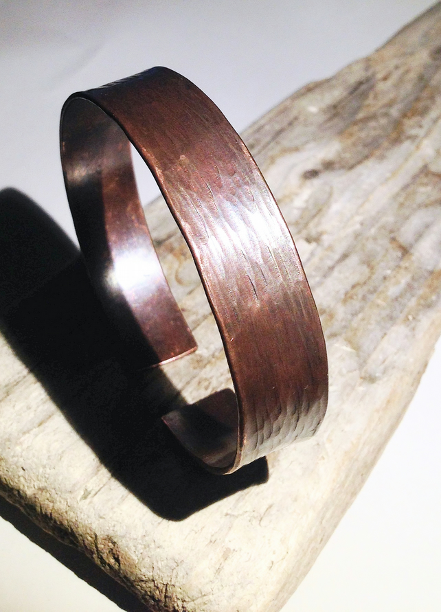 Hammered Dark Antiqued Copper Cuff Bangle - UK Free Post