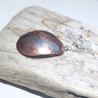 Copper Pendant Necklace With Sterling Silver Embellishment - UK Free Post