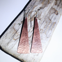 Long Textured Copper Earrings - UK Free Post