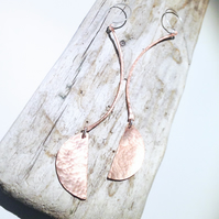 Long Copper Statement Earrings - UK Free Post