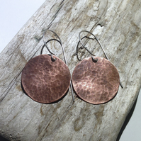 Hammered Antiqued Copper Disc Earrings - UK Free Post