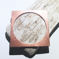 Hand Crafted Hammered Copper Square Bangle - UK Free Post