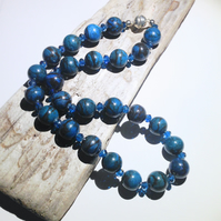 Blue Turquioise Gemstone and Crystal Bead Necklace - UK Free Post