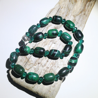 Green Turquioise Gemstone and Crystal Bead - UK Free Post