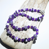 Purple and White Agate and Russian Amethyst Necklace - UK Free Post