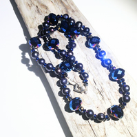 Dark Freshwater Pearl and Blue Iris Crystal Necklace - UK Free Post