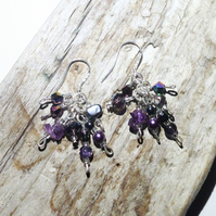 Purple Amethyst and Freshwater Pearl MIx Cascade Earrings - UK Free Post