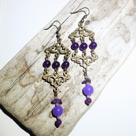 Purple Jade and Russian Amethyst Gemstone Earrings - UK Free Post