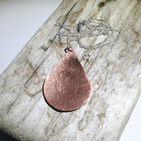 Hammer Textured Copper Pendant Necklace - UK Free Post