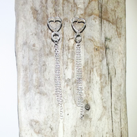 Sterling Silver Heart and Chain Earrings - UK Free Post