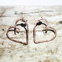 Hammered Copper Heart Stud Earrings - UK Free Post