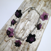 Pretty Purple and Black Flower Bracelet - UK Free Post