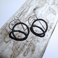 Hammered Antiqued Copper Hoop Drop Earrings - UK Free Post