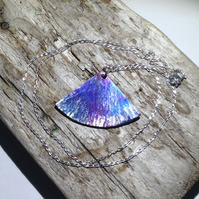Coloured Titanium Fan Shaped Pendant  - UK Free Post