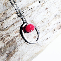 Sterling Silver Oval Hoop and Red Topaz Pendant Necklace - UK Free Post