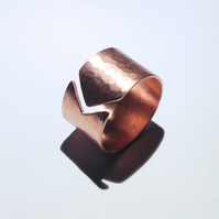 Hammered Wide Band Open Copper Ring - UK Free Post