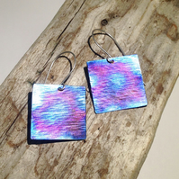 Handmade Coloured Square Titanium Earrings - UK Free Post