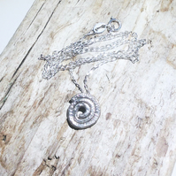 Reticulated Sterling Silver Spiral Pendant Necklace - UK Free Post