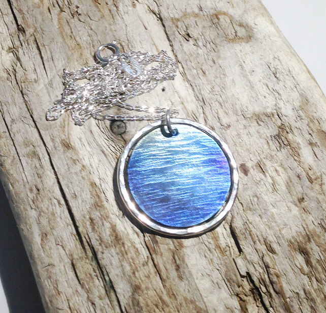 Sterling Silver and Titanium 'Sea View' Disc Pendant Necklace (3) - UK Free Post