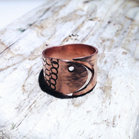 Handmade Fish Design Open Copper  Ring - UK Free Post